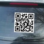 Heckscheibe mit QR Code (Symbolbild)